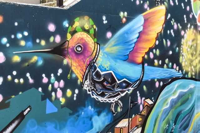 Mural of a colorful hummingbird with a helmet and vest