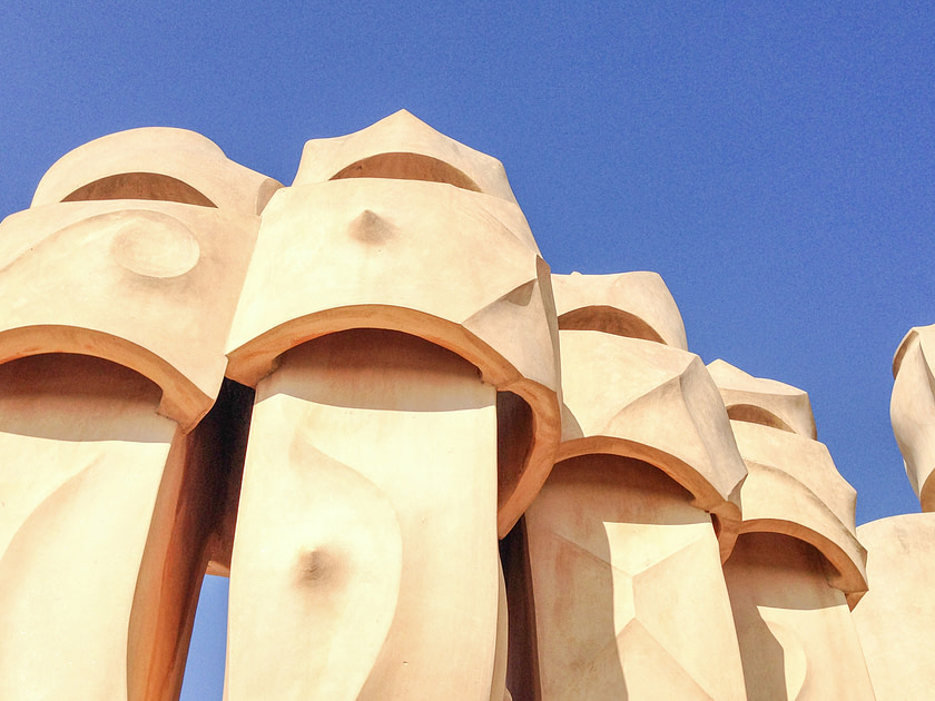 Chimneys on the roof of Casa Mila in Barcelona, Spain