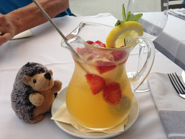 A pitcher of cava sangria