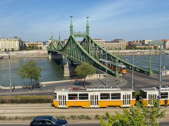 The Liberty Bridge as seen from the Buda side of Budapest