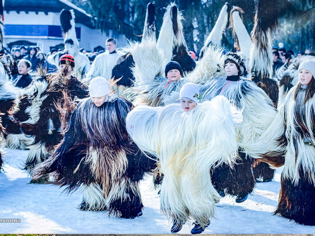 Children performing a Kukeri ceremony in Razlog, Bulgaria