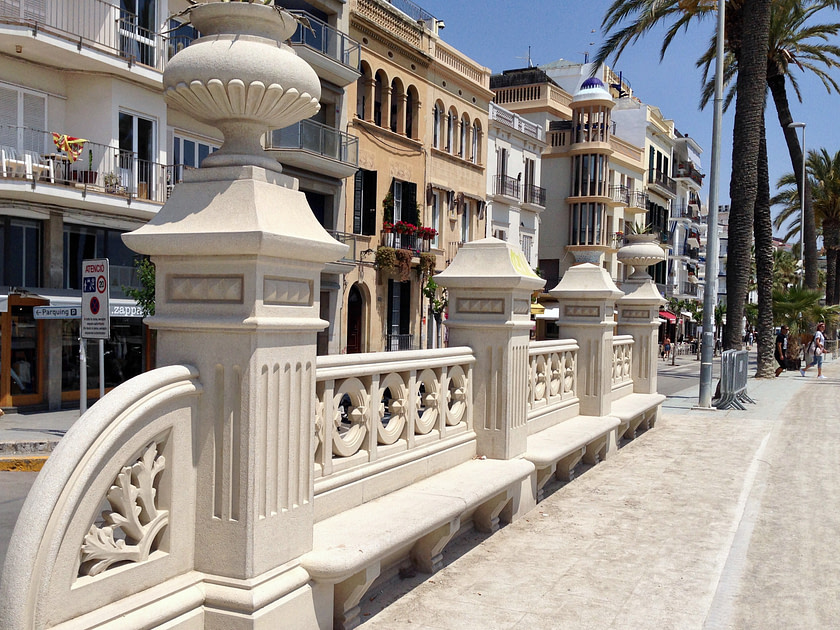 The walkway along the promenade in Sitges, Spain