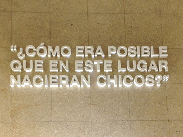 Words on the floor in the ESMA museum