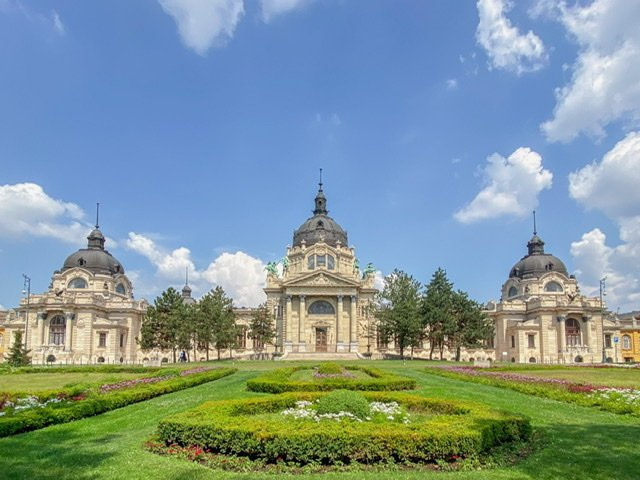 View of the Széchenyi Baths in Budapest's City Park