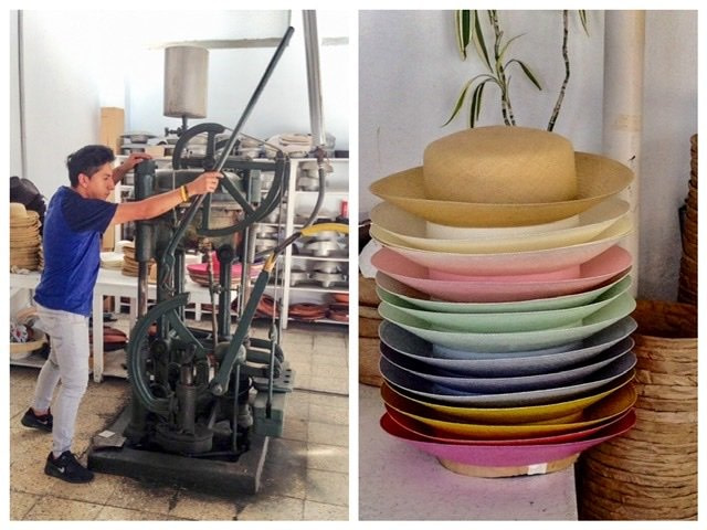 A man working a machine in a hat factory and the finished product