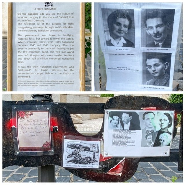 Collage of items left in front of the Memorial to the Victims of the German Occupation