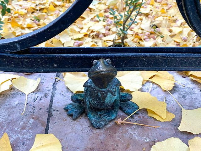 Mini statue of a frog in front of a fence