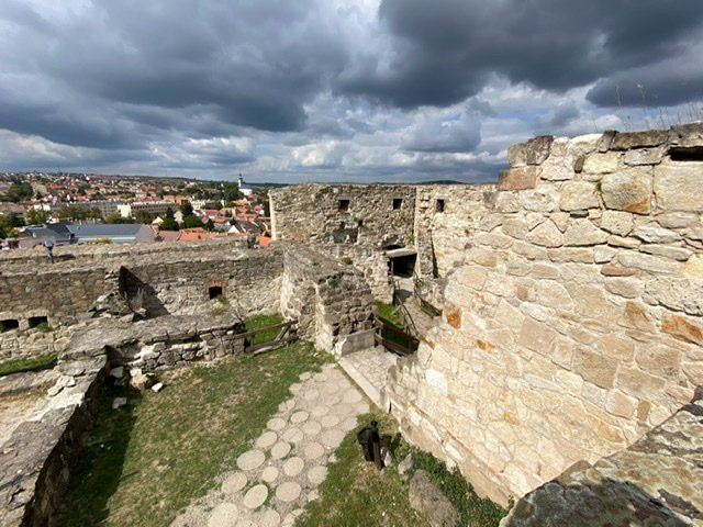 Walls of Eger Castle with the city of Eger below