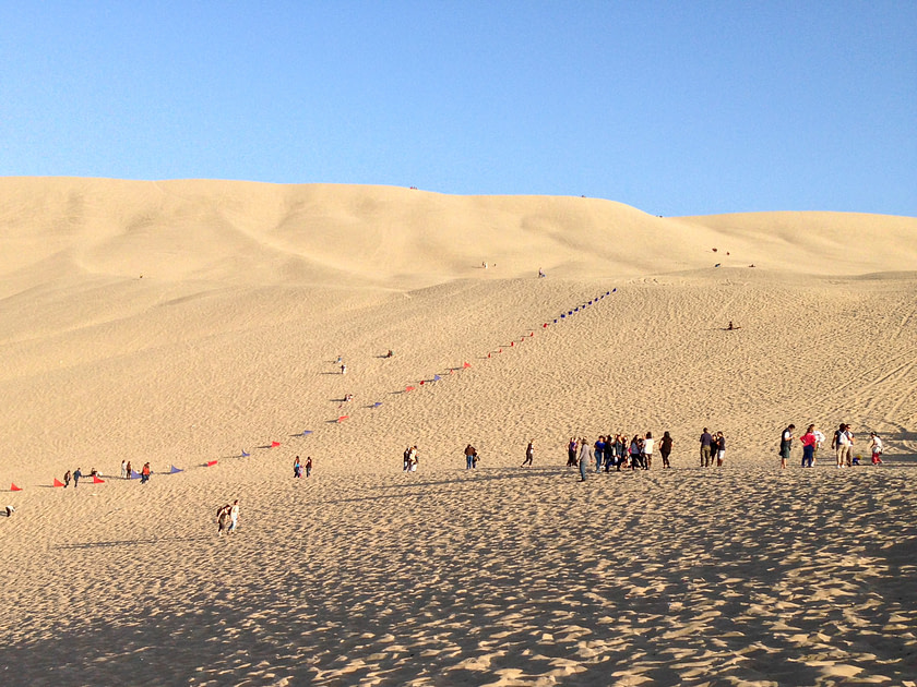 Sand dunes in Huacachina, Peru