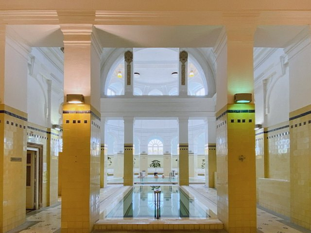 Two inside pools at the Szechenyi Baths in Budapest