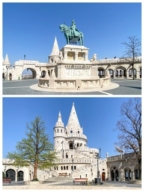 Two photos of an empty Fisherman's Bastion in Budapest