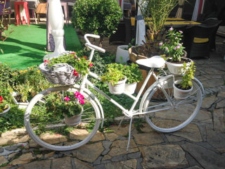 A bicycle painted white and used as a planter