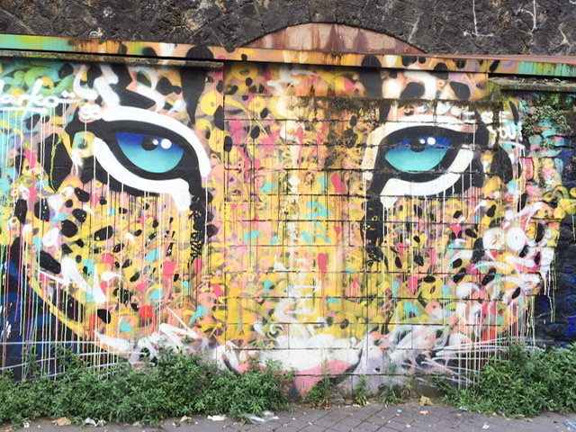 Mural of a close up of a big cat's face with aqua colored eyes