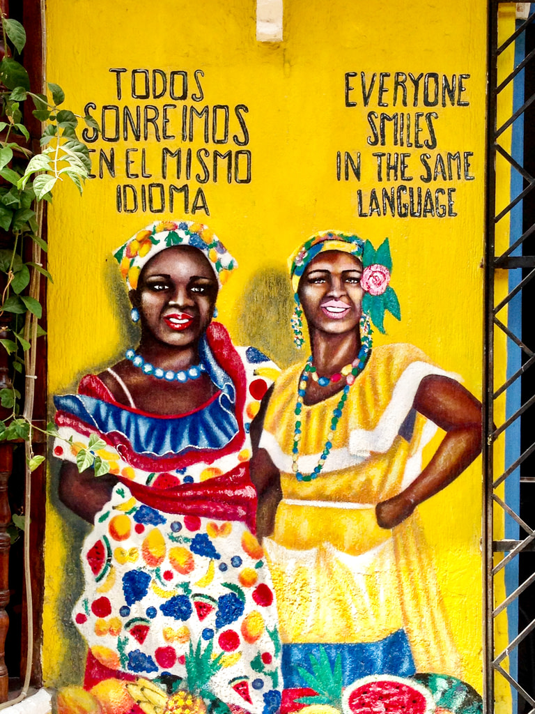 Mural of two colombian women in traditional dress