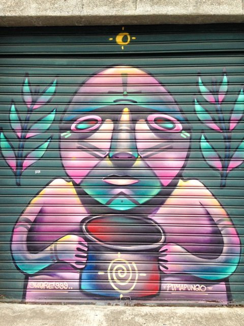 Street art of Incan man