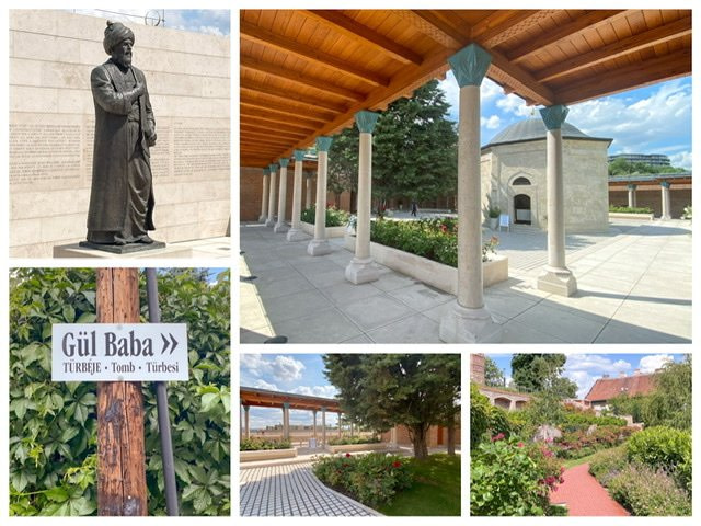 A five photo collage of the Gul Baba site in Budapest