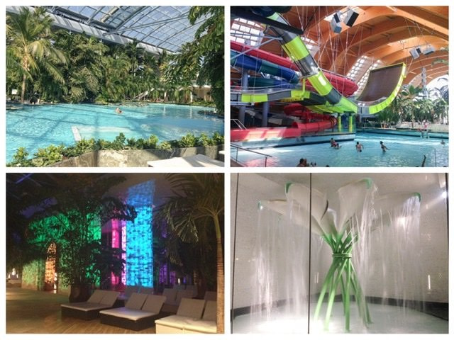 4 photo collage of Therme Bucuresti