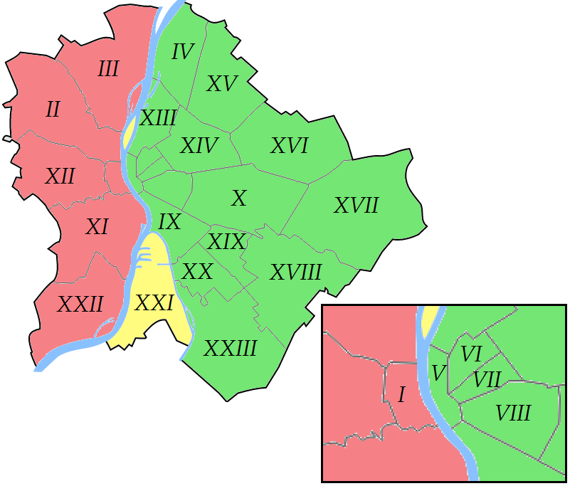 Color map of Budapest's districts