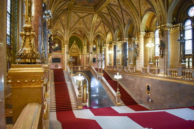 The Grand Stairway in the Hungarian Parliament Building