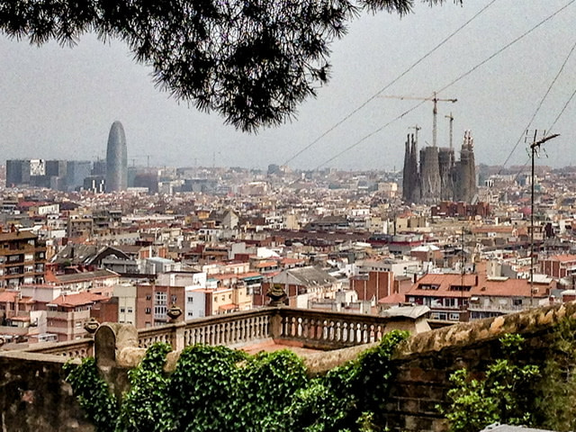 A view of Barcelona from Park Guell with La Sagrada Familia in the distance