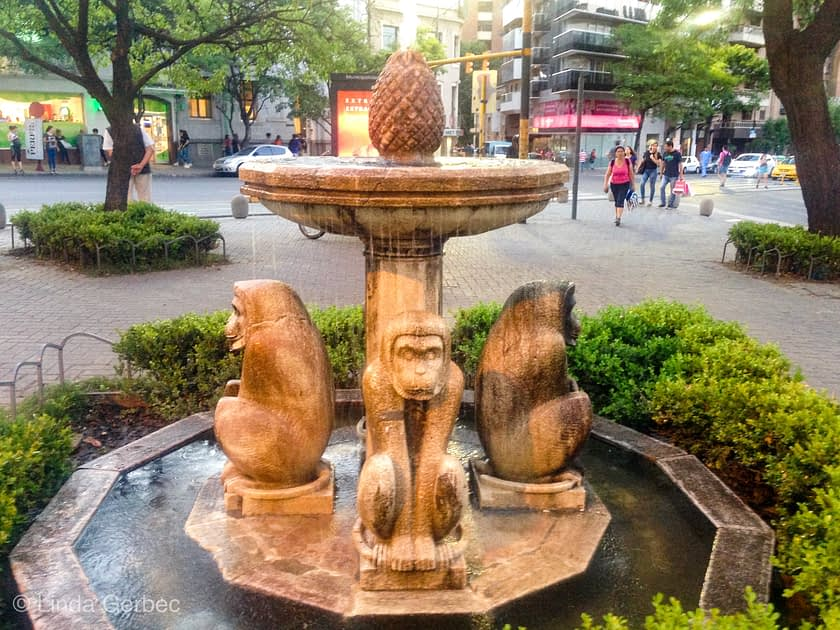 fountain with monkeys
