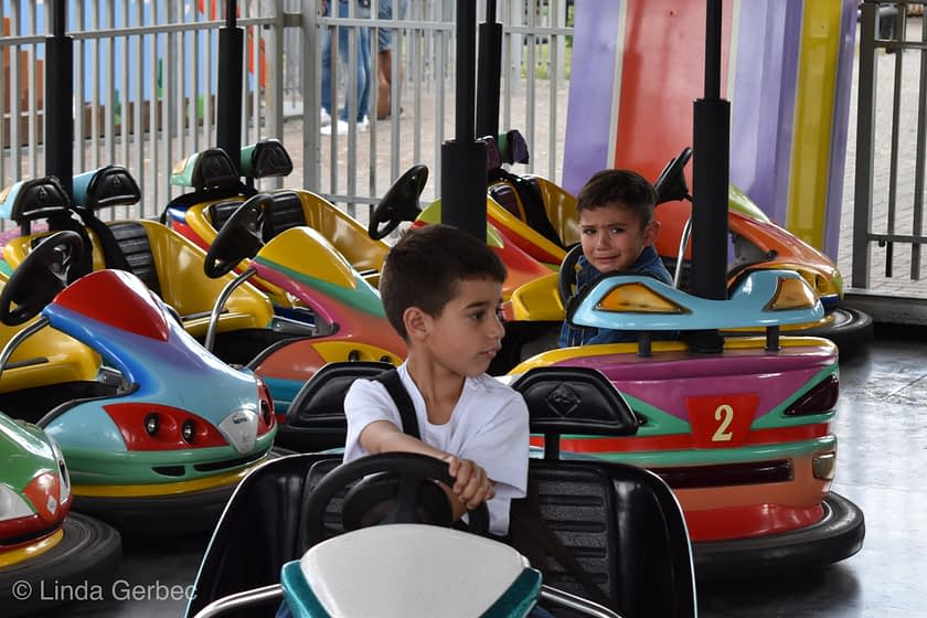 Two boys on bumper cars