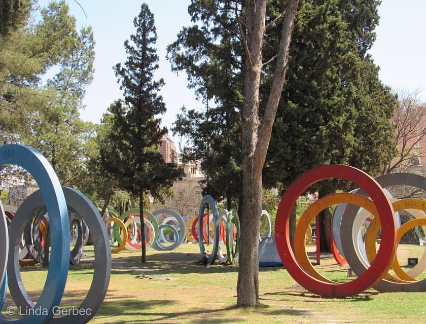 Colorful rings in a park